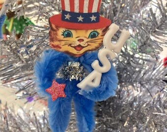 Patriotic Vintage Chenille Feather Tree Ornament, 4th. of July Ornament Decoration,  Independence Day Party Favor, Uncle Sam