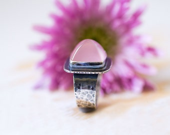 Gem Quality Madagascar Rose Quartz Sterling Silver Ring - Sanctuary of Light - Collector's Stone - Size 7