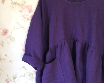 Purple LinenTunic Washed Linen Asymmetrical Shirt Lagenlook Pocket High Low Custom For You
