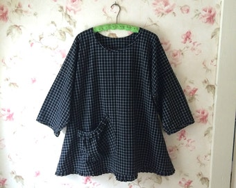Black White Check Tunic Shirt A Line Top Prairie Lagenlook Ruffled Hem Homespun Cotton Pouch Pocket