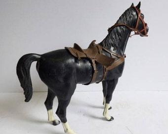Vintage Toy horse Louis Marx w/ bridle saddle Cowboy Western plastic Black steed Equestrian 13 tall