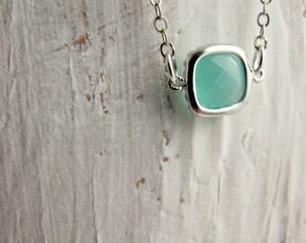 Aqua Blue, Mint Blue, Silver Framed Glass Pendant