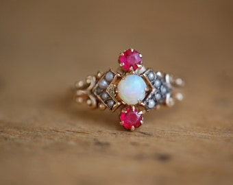 Victorian 10K opal, simulated ruby, and pearl dress ring ∙ Antique opal and pearl ring