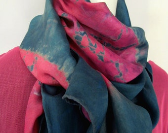 Indigo and Fuchsia Silk Shibori Scarf