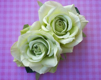 Beautiful double rose in green pin up retro 50s hairflower hairpiece wedding bride bridal