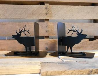 Elk Silhouette Metal Art Bookends Wapati Deer Outdoors