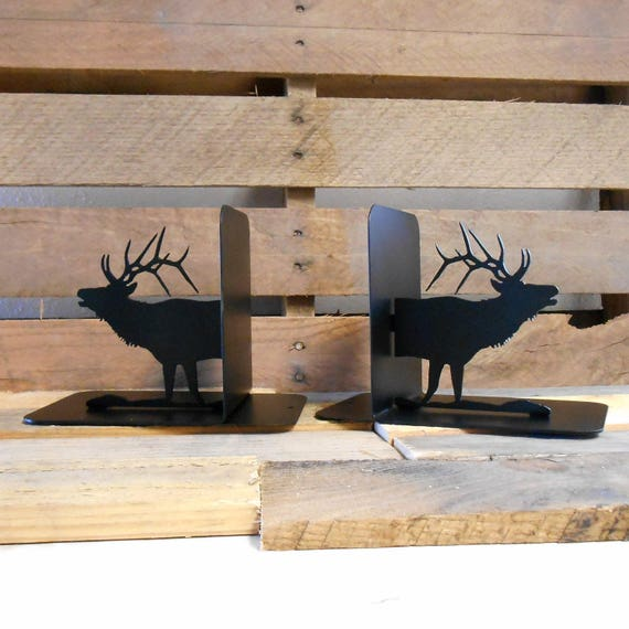 Elk Silhouette Metal Art Bookends Wapati Deer Outdoors
