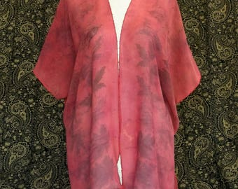 Red and Black Silk Caftan Jacket, Eco Printed, Solar Dyed