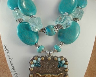 Cowgirl Necklace Set - Chunky Turquoise Howlite and Glass Nuggets - Crystal Texas Longhorn Concho Pendant