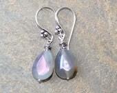 Lepidolite Earrings, Natural Stone Earrings, Gray Earrings, Silver Earrings, Dangly Earrings, Boho Earrings, Teardrop Earrings