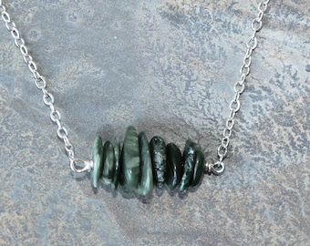 Seraphinite Necklace, Green Necklace, Natural Stone Necklace, Natural Necklace, Raw Stone Necklace, Stacked Necklace, Boho Necklace, For Her