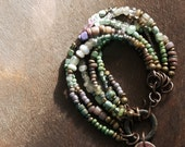 Shimmering Pastels - Stacking Bracelet  - Woodlands - Green - Purple - Pastel