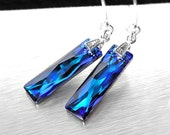 Dark Blue Crystal Earrings, Sterling Silver, Swarovski Crystal Royal Blue Drop Earrings, Deep Ocean Blue Earrings, Electric Blue Dangle