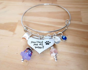 Pet Bangle Bracelet - You Had Me at Woof - Personalized Charm Bracelet, Dog Lovers Jewelry - Paw Charm - Heart - Crystal Flower Dangles