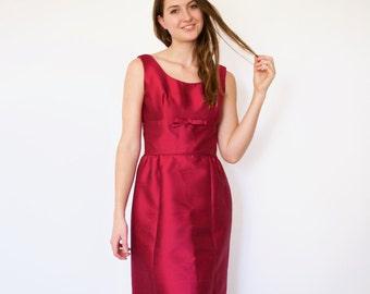 60s Metallic Raspberry Nipped Waist Structured Wiggle Bow Dress s