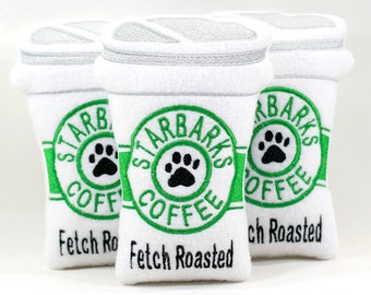 Starbarks Coffee Dog Toy, Coffee Cup Toy For Dogs, Fleece Dog Toy, Coffee Lover Gift, Embroidered Dog Toy
