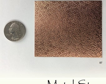 "Textured Copper 24 gauge Sheet Metal 2.5"" x 3"" - Solid Copper - Great for Jewelry Making 87"