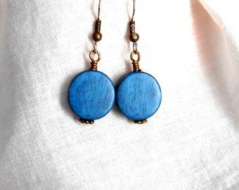 Wood Coin Drop Earrings Antiqued Bronze Metal Style Earrings Surgical Steel French Hooks Dangle Drop Earrings Aegean Blue
