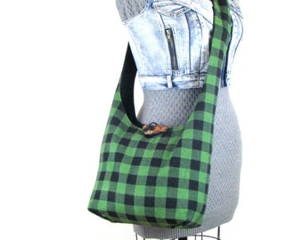 Hobo Shoulder Bag - Crossbody Bag for Women - Buffalo Plaid Purse for Women - Sling Bag - Vegan Bag - Hippie Bag - Slouchy Hobo Bag
