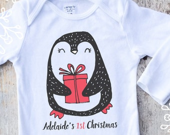 Personalized First Christmas Girl Onesies®, Girl 1st Christmas, Penguin Onesie, Personalized Christmas Gift, Baby Singlet, Christmas Onesie