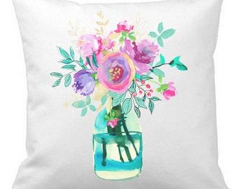 Throw Pillow, Spring Pillow Cover, Spring Decor, Floral Pillow, 18x18 Pillow, Housewarming Gift, Pillow Case, Spring Flowers in Vase, Jar