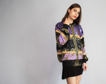 1990s Vintage Purple and Gold Black Silk Beaded Sequins Bomber Jacket - Vintage 90s Sequined Bomber  - Vintage Sequin Trophy Jacket - W00069