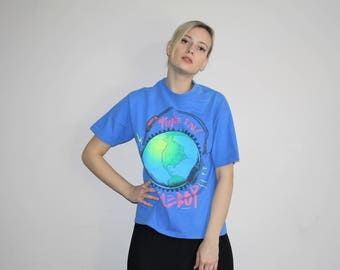 Vintage 80s Bugle Boy Brand Neon Graphic T Shirt - 1980s Tees - 80s Clothing - WV0291