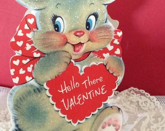 Vintage 1950s Valentine Card Large Bunny Rabbit With Sugared Glitter Shows Front & Back Of Rabbit Collectible Scrap Book Art Craft Supplies