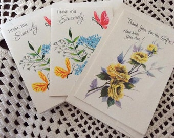 Vintage 1950s 1960s Cards Greeting Thank You Set Of 3 Floral Mini Cards With Envelopes Deadstock Arts Crafts Collectible Scrap Booking