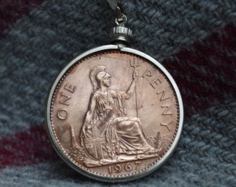 Fabulous  - British - Large Old Penny  - Coin  Pendant and Chain -  c1967