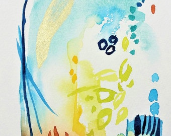 Small Watercolor Painting, Abstract Landscape, Watercolor Painting, Original Watercolor