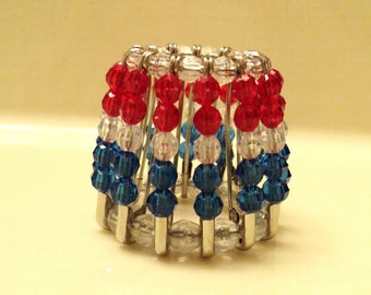 Beaded Night Light Shade, Night Light Shade, Shade, Lighting Accessory, Home Decor, Decor Accessory, Red, White, and Blue - PATRIOTIC