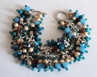 Charm Bracelet, Cha Cha Bracelet, Chunky Bracelet, Shabby Chic Bracelet, Boho Bracelet, Turquoise and Brown - SPARKLING ROYALTY