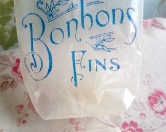 Antique French Confiserie Chocolaterie bonbon bagsatch batch of 10 c1900 unused plump glassine bags Photography Prop Paper Ephemera