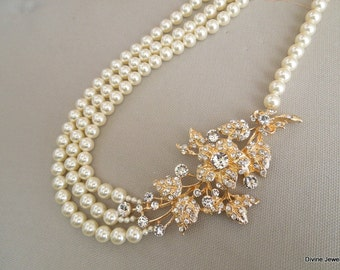 pearl and crystal bridal necklace Statement Bridal necklace Wedding Rhinestone pearl necklace swarovski crystal and pearl necklace DARCIE