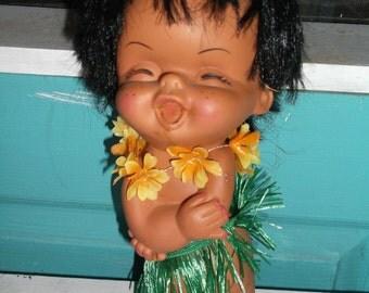 "Doll Vintage Hawaiian Kewpie Cupie Doll with grass skirt and Lei 10"" plastic doll"