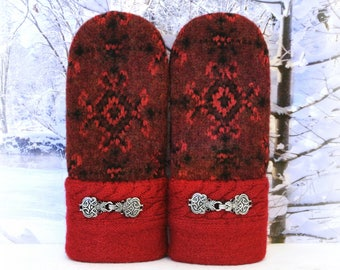 Red & Black 100% Wool Nordic Style Women's Recycled Sweater Mittens