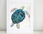 Swimming Sea Turtle Watercolor Print