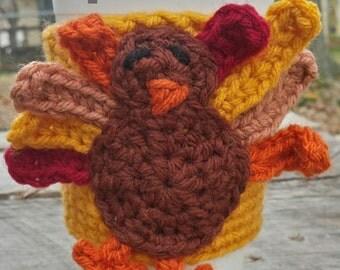 TURKEY Crochet PDF Pattern ~ Thanksgiving Cup Cozy ~ Coffee Mug Sleeve ~ Turkey Crochet ~Mug Warmer ~ Crochet Coffee Cozy