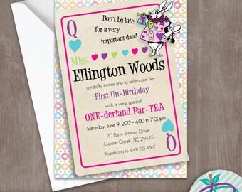 One-derland Birthday Party Invitation, One-derland Party Invite, Onederland Printable Invite, Wonderland Birthday Party Invitation