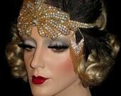 GOLDEN DECO DIVA Great Gatsby Headpiece- 20s Art Deco Gatsby Headband, Flapper Headpiece, Old Hollywood Gold And Crystal Rhinestone Headband