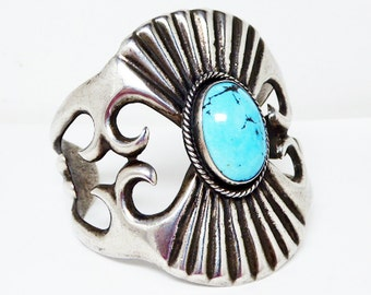 Sterling Silver & Turquoise Cuff Bracelet - Old Pawn Native American Tribal - Turquoise Sand Cast Mid Century Artisan Silversmith Design