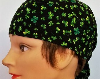 Handmade Black with Multi Colored Shamrocks Skull Cap or Chemo Cap, Surgical Cap, Hair Loss, St.Patrick's Day, Motorcycle, Do Rag, Head Wrap