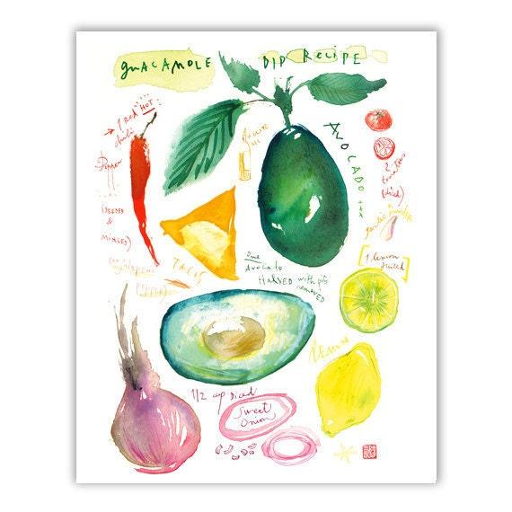 Guacamole recipe print, Kitchen art, Guacamole print, Food poster, Kitchen decor, Watercolor recipe painting, Recipe art, Vegan print, 8X10