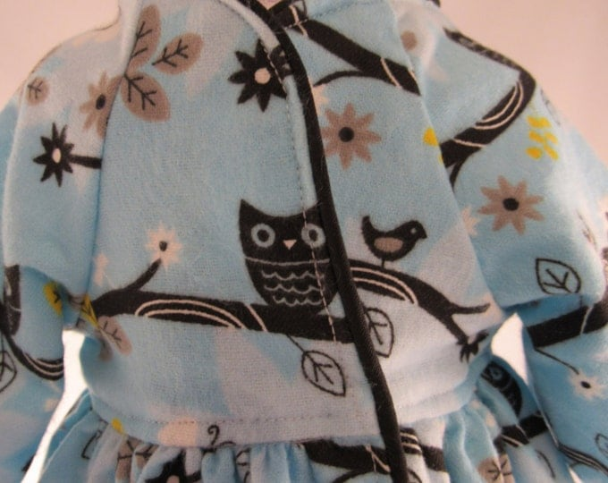 Long Blue flannel bathrobe with owl print fits 18 inch dolls