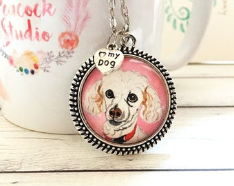 Miniature Poodle Necklace- Poodle Jewelry- Custom Portrait Necklace- Pet Portrait Custom- Pet Lover Gifts Pet Loss Gifts Pet Memorial Gifts