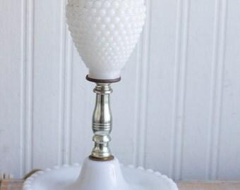 White Vintage Table Lamp, Hobnail Milk Glass Lamp, Dresser Lighting, Country Cottage Chic Bedroom Decor