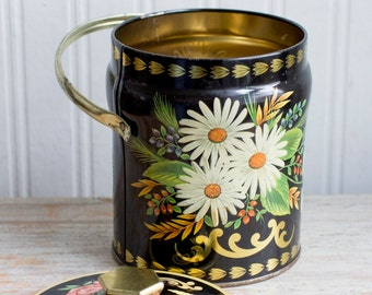 Vintage English Candy Tin, Shabby Chic Daisy Container, Black Gold Metal Storage Bin with Handle, Spring Summer Decor