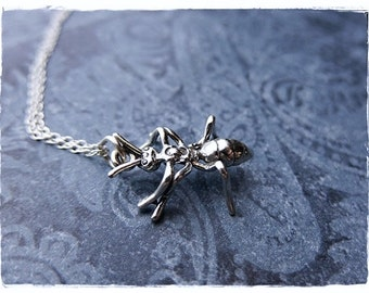 Silver Ant Necklace - Sterling Silver Ant Charm on a Delicate Sterling Silver Cable Chain or Charm Only