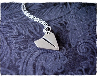 Silver Paper Airplane Necklace - Sterling Silver Paper Airplane Charm on a Delicate Sterling Silver Cable Chain or Charm Only